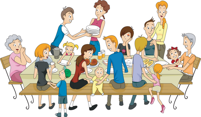 people around dinner table