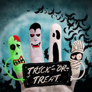 Halloween monsters holding list