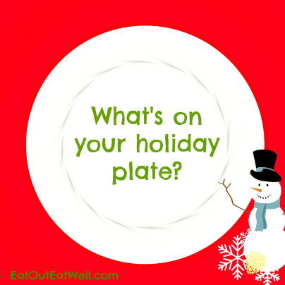 white plate-red-background-holiday-eating